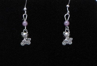 Cat / Kitten Dangling Earrings (C7) - You pick the Bead color..
