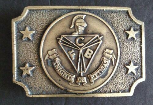 "Vintage Knights of Pythias FCB Stars Belt Buckle Approx 2.25"" x 3.25"""