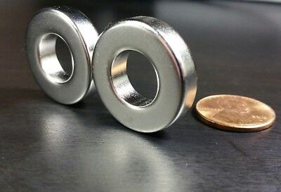 2 Large Neodymium N52 Ring Magnets Super Strong Rare Earth 1 X 14