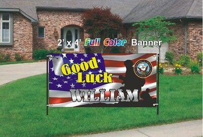 U.S. Navy Going Away Banner - Navy Good Luck Banner 13oz woven mesh vinyl banner