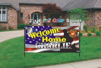 U.S. Marines Welcome Home Banner - Marines Welcome Home Banner 13oz mesh banner