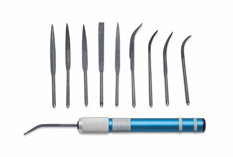 10-Piece Riffler File Set with Handle Jewelry Making Wax Filing