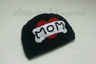 Newborn Baby boy Girl I heart Mom tattoo Hat Crochet Valentines Photo Prop Gift