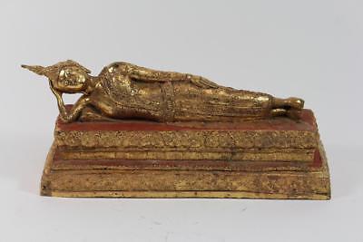 35 cm Skulptur Bronze vergoldet schlafender Buddha Thron Thailand wohl um 1900
