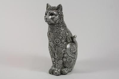 26 cm Skulptur sitzende Katze Resin schön verziert teils mit Steinbesatz