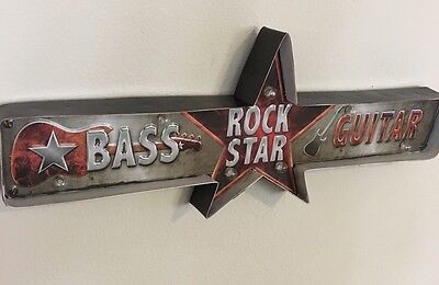 GUITAR METAL SIGN ROCK STAR BAND VINTAGE style gift LED LIGHT MUSIC ROOM DECOR
