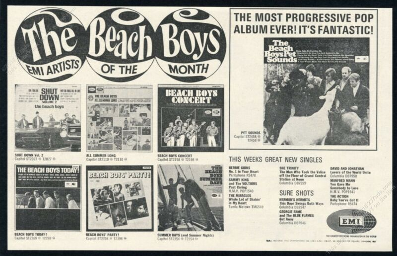 1966 The Beach Boys photo Pet Sounds record release scarce UK vintage print ad