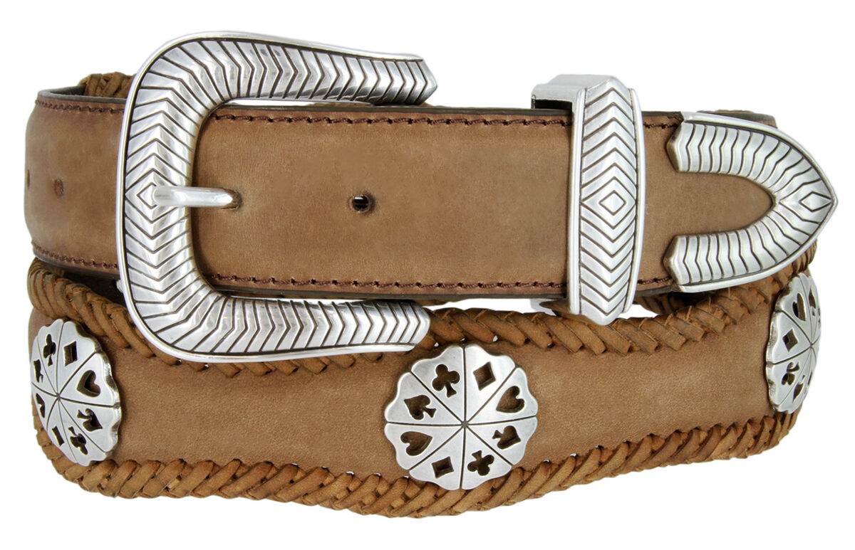 new s card suits concho leather cowboy belt