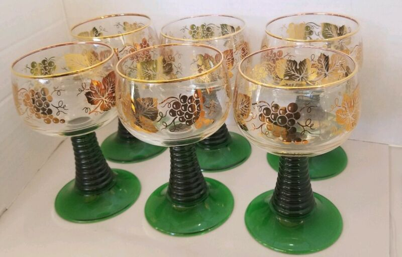 Vintage Set Of 6 Roemer (Germany) Wine Glasses with BeeHive footed Stem