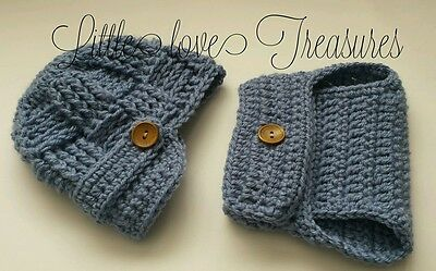 Newsboy Outfit (Newborn Baby Boy Newsboy Hat and Diaper cover Crochet Clothes photo prop)
