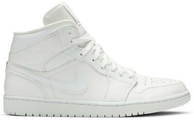 Nike Air Jordan 1 Mid 'Triple White' 554724-129 Authentic Mens New