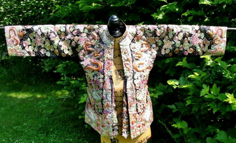 Amazing Vintage Chinese Embroidered Wedding Jacket Phoenix Dragon Phoenix XXS
