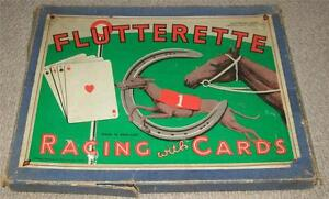 FLUTTERETTE-VINTAGE-1920s-RACING-BOARD-GAME-WITH-CARDS