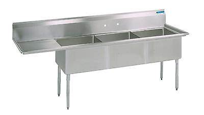Bk Resources Three Compartment Sink 18x18 W L Or R Drainboard Nsf