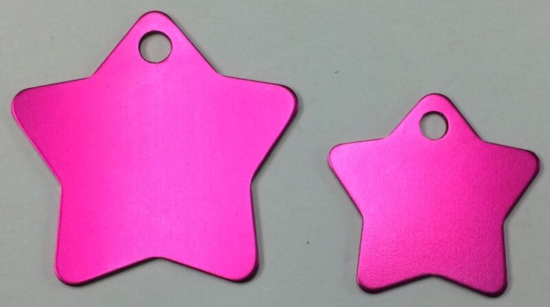100 Star Pet identification tags Anodized Aluminum Blank ID Wholesale Hot Pink