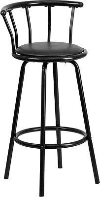 - Crown Back Black Metal Bar Stool with Black Vinyl Swivel Seat