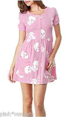 Betsey Johnson PINK Skull Thermo Mini Dress w/ White Skulls Flare Halloween S