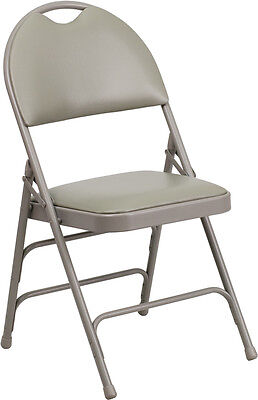 100 Pack Metal Folding Chair Gray Vinyl Triple Braced And Easy-carry Handle