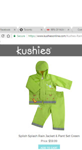 NWT Kushies Rain Suit 24M