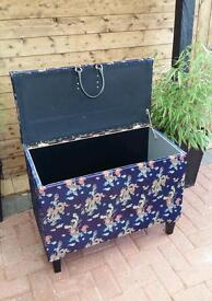 Chinese blue silk style ottaman by 'Andyman UpCycling
