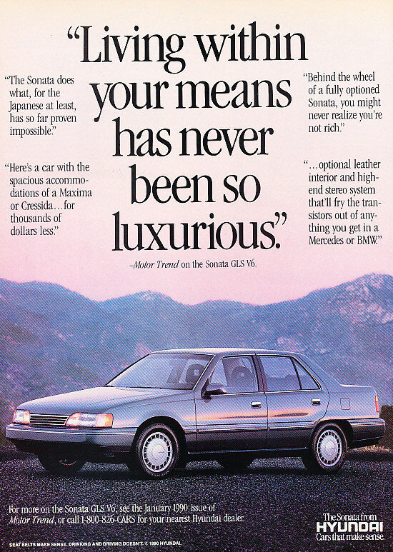 1990 Hyundai Sonata - luxurious - Classic Vintage Advertisement Ad H11