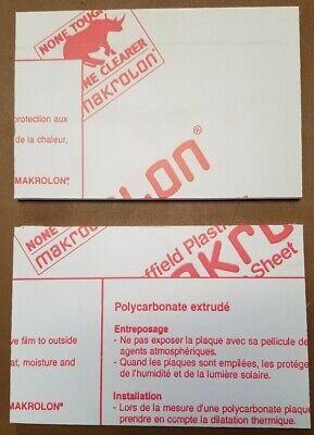 Clear Polycarbonate Sheet Makrolon 14 Thick 4 X 6 Measures 0.220 2 Pcs