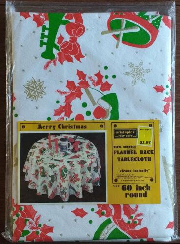 "VTG 1978 Round 60"" MERRY CHRISTMAS TABLECLOTH Vinyl Flannel Back Kmart SNOWMAN"