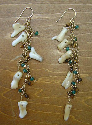 White Coral w/ 14k gold filled chain earrings w/ faceted tiger eye, green onyx ()