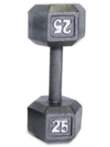 25 lbs hex dumbbell silver weights
