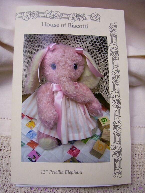 "12"" Priscilla Elephant  PATTERN   Mohair Soft Animal"