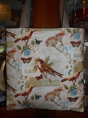 Song Birds Tote Bag Music Notes Butterflies Gift Lunch Book bag  Handmade - Book Tote