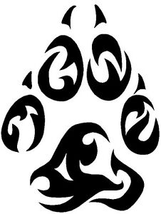 nr43 tribal tattoo wolf paw footprint decal vinyl. Black Bedroom Furniture Sets. Home Design Ideas