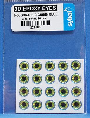 3d-epoxy (Sybai 3D EPOXY EYES 20 Stück Ø 8mm HOLOGRAPHIC GREEN BLUE)