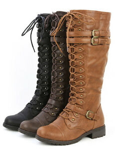 Laced Zipper Riding Boots And Shoes