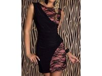 Black and Pink Lace Bodycon Dress