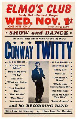 1961 CONWAY TWITTY *ELMO'S CLUB* 11X17 REPLICA CONCERT POSTER *PORTLAND (Conway Portland)