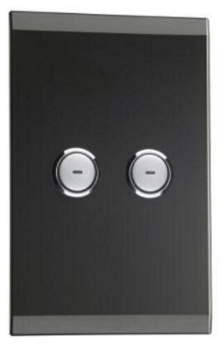 Clipsal C-BUS SATURN WALL SWITCH 2-Button Glass Fascia, Rectangular, Black