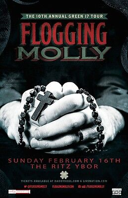 Flogging Molly * 11 x 17 Original Concert Poster 2014 Green 17 10th rare limited