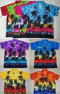Mens-Hawaiian-Fancy-Dress-Shirt-Sunset-Palms-Print-M-L-XL-XXL-1st-Class-Postge