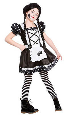 Girls Black/White Broken Doll Halloween Fancy Dress - Black And White Doll Halloween Costume