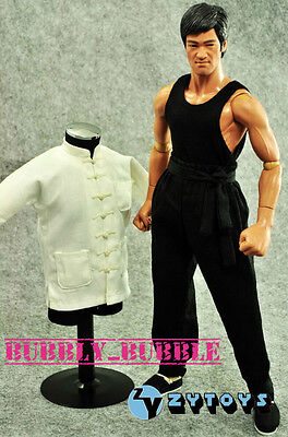 1/6 Bruce Lee Kung Fu Long Sleeves Costume Black Pants Set SHIP FROM - Bruce Lee Costumes