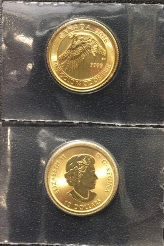 EAGLE & QUEEN ELIZABETH CANADA 2016 GEM BU .9999  1/4 OZ GOLD  $10  GOLD COIN.