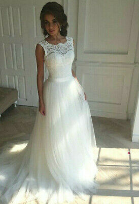 New Lace O-Neck Lace Tulle Boho cheap Wedding Dresses Summer Beach Bridal Gown