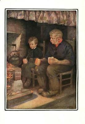 Man and Young Boy eating by Fireplace  -  Jessie Willcox Smith -  Vintage Print