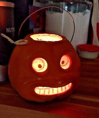 VINTAGE Style Paper Pulp/Mache Lighted/Light PUMPKIN Seasons Gone By Halloween