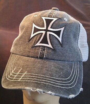 Iron Cross Hat (Iron Cross Biker Ball Cap hat Cotton Mesh Trucker Hat)