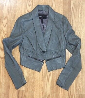 New with tag $348 bcbg Max Azria Leather Jacket 5232 Lead Coat Sz S