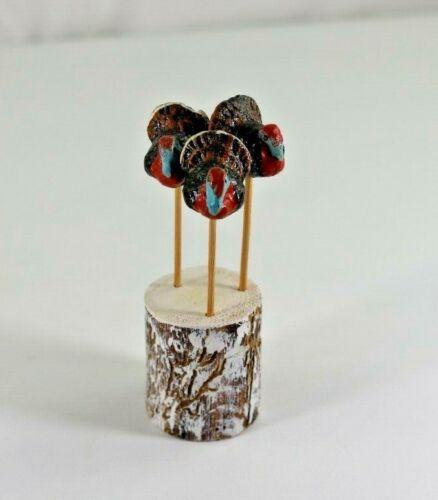 Three Vintage Paper Mache Thanksgiving Turkey on Toothpicks