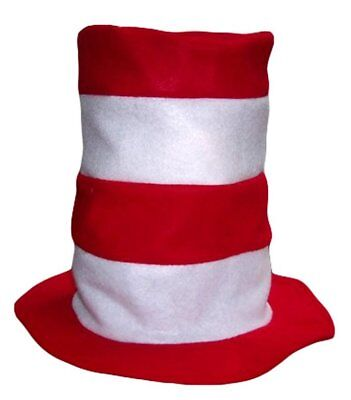 Red and White stripes felt hat reading hat school fun costume - Red And White Costumes