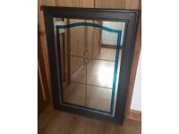 Stunning pine framed stained glass mirror